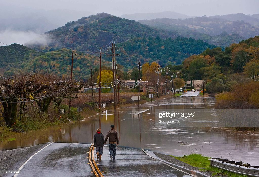 Highway 175 in Mendocino County at the Russian River is closed due to flooding December 2, 2012, in Hopland, California. More than a 18 inches of rain has fallen in California's Wine Country during the past five days. Forecasters are calling it 'The Pineapple Express,' or a 'river of moisture.'