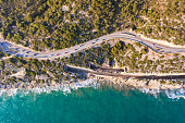 Highway along the sea, view from above
