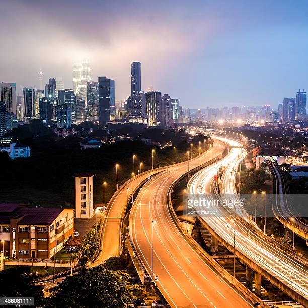 Highway and skyline, Kuala Lumpur, Malaysia