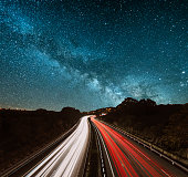 Highway at night under the milky way