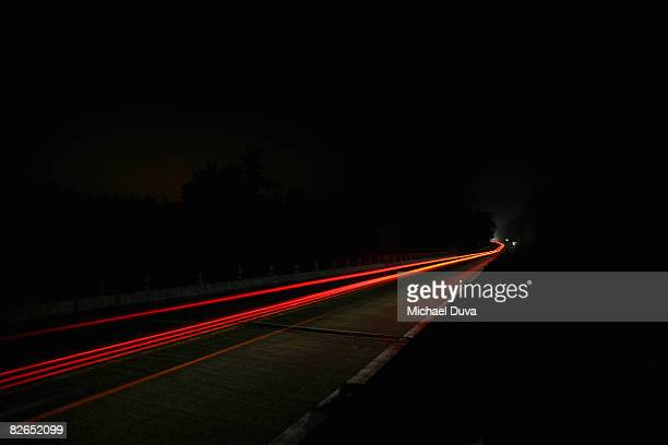 highway at night with car light blur