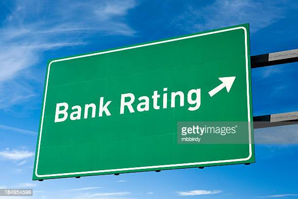 Highway directional sign for Bank rating