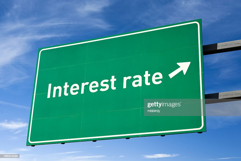 Highway directional sign for Interest rate