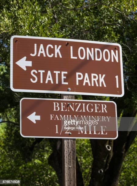 Highway directional signs for Jack London State Park and Benziger Family Winery are viewed on April 23 in Glen Ellen California After record winter...