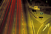 Highway exit, elevated view (blurred motion)