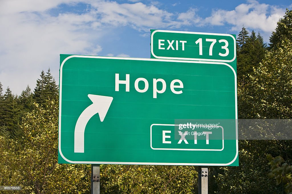 Highway exit sign for Hope, BC, Canada.  : Stock Photo