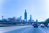 Highway heading to Chicago, Illinois, USA