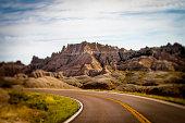 Highway in Badlands National Park, South Dakota, USA