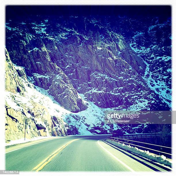 Highway into snowy canyon