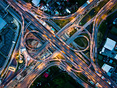 Highway junction in  Bangna, the east of Bangkok from aerial view in the night. Taken in August 2016.