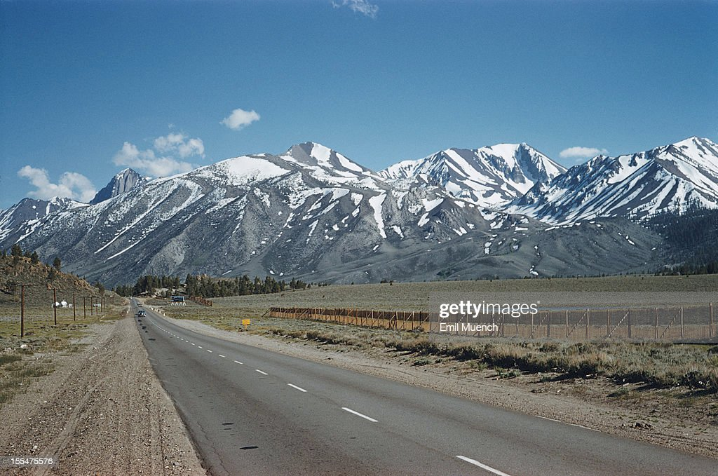 A highway leading to the Ritter Range in the Sierra Nevada mountains California June 1958