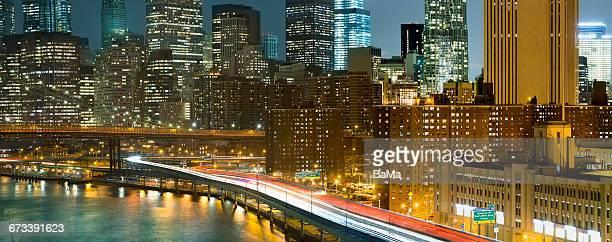 FDR Highway, Manhattan, New York City at night