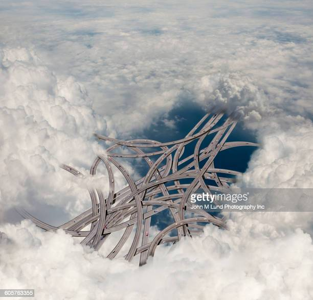 Highway overpass connections in clouds