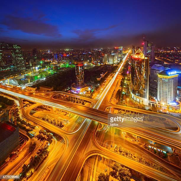 Highway overpass crossing city