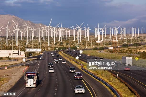 Highway past wind farm