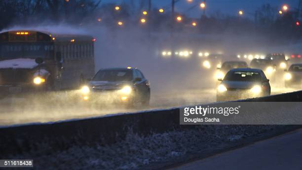 Highway rush hour traffic during a blizzard