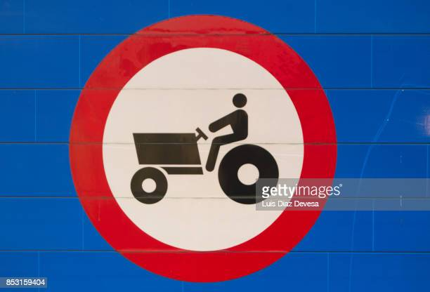 Highway signs prohibiting tractors