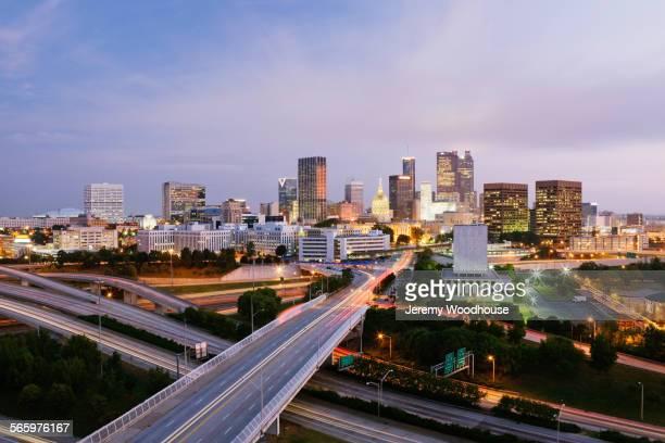 Highway to Atlanta cityscape at night, Georgia, United States