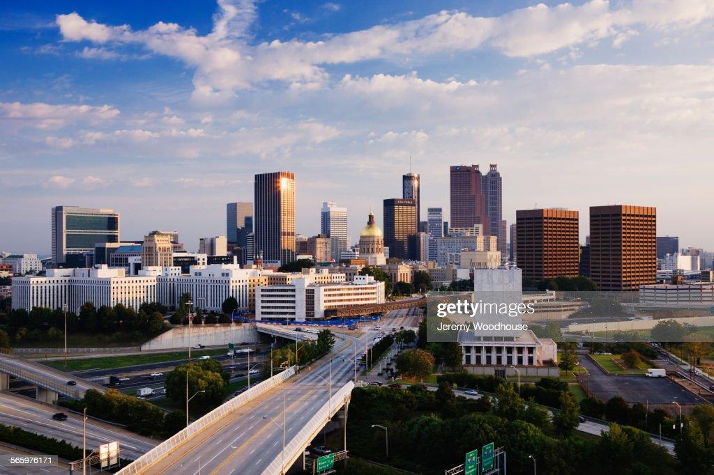 Highway To Atlanta Cityscape Georgia United States Stock Photo - Is georgia in the united states