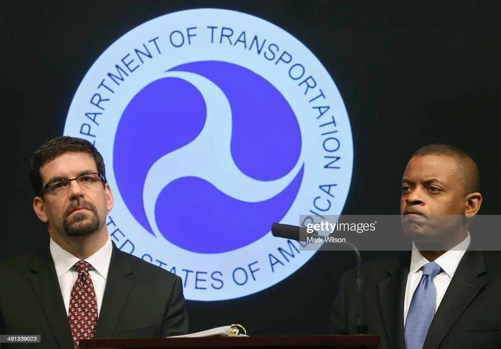 Highway Traffic Safety Administration's Acting Administrator David Friedman (L) and Secretary of Transportation <a gi-track='captionPersonalityLinkClicked' href=/galleries/search?phrase=Anthony+Foxx&family=editorial&specificpeople=7128225 ng-click='$event.stopPropagation()'>Anthony Foxx</a> listen to questions from the media after announcing that General Motors has agreed to pay a $35 million civil penalty during a news conference at the Department of Transportation May 16, 2014 in Washington DC. Secretary Foxx said that GM violated federal safety laws in the Chevrolet Cobalt investigation.
