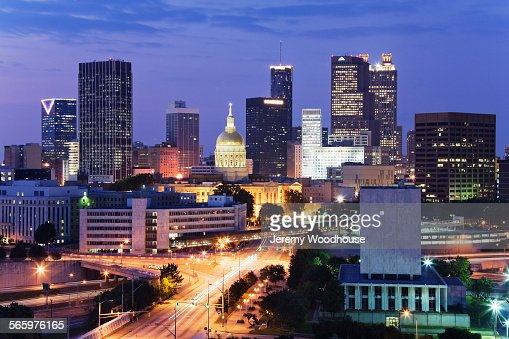Highway To Atlanta Cityscape At Night Georgia United States Stock - Is georgia in the united states