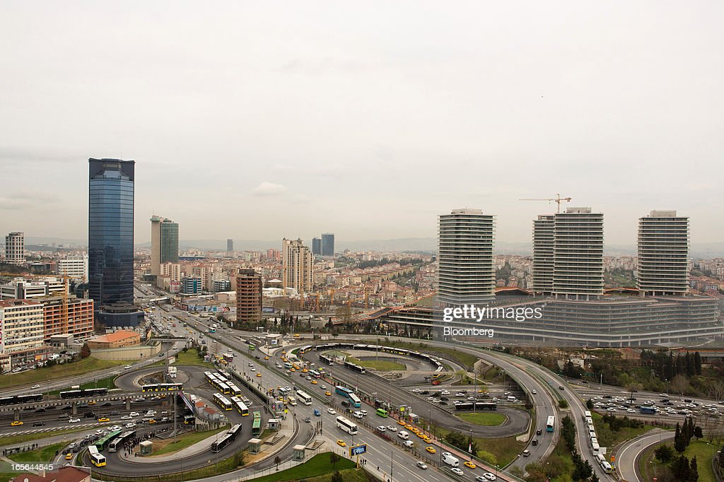 Highways and road traffic pass high rise buildings in the Levent-Maslak business districts of Istanbul, Turkey, on Thursday, April 4, 2013. Turkey's gross domestic product expanded 2.2 percent in 2012, down from 8.8 percent the previous year, according to data released by the statistics office in Ankara on April 1. Photographer: Kerem Uzel/Bloomberg via Getty Images