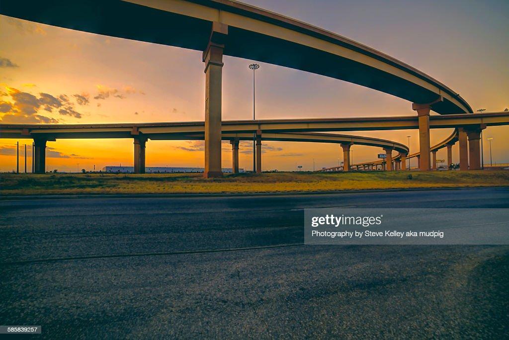 Highways at sunset
