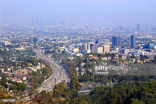 Highways leading into a smog filled downtown Los Angeles, CA