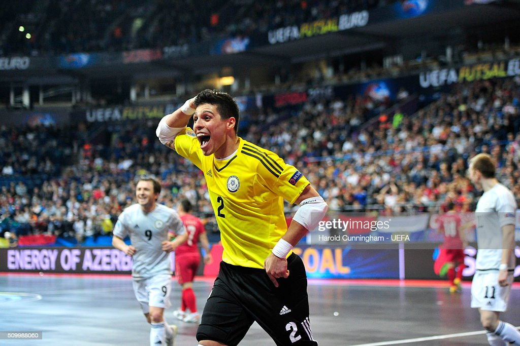 Higuita of Kazakhstan celebrates scoring his team fourth goal during the UEFA Futsal EURO 2016 third place play off match between Serbia and Kazakhstan at Arena Belgrade on February 13, 2016 in Belgrade, Serbia.