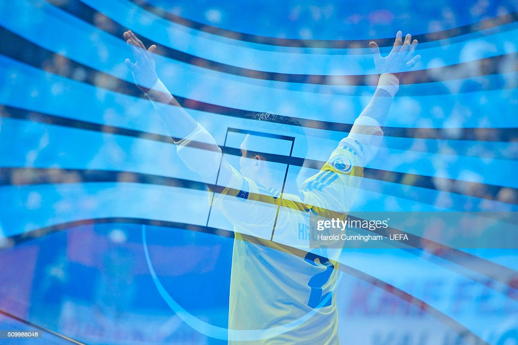 Higuita of Kazakhstan gestures during the UEFA Futsal EURO 2016 third place play off match between Serbia and Kazakhstan at Arena Belgrade on February 13, 2016 in Belgrade, Serbia.