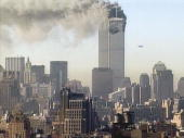 Hijacked United Airlines flight 175 flies towards the south tower of the World Trade Center on September 11 2001 in New York City The plane is one of...