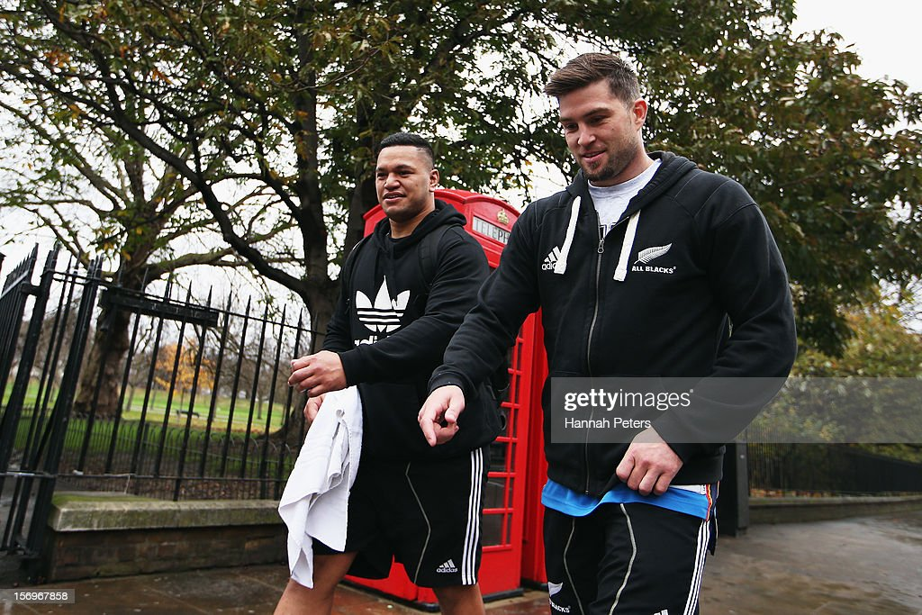 Hika Elliot and <a gi-track='captionPersonalityLinkClicked' href=/galleries/search?phrase=Cory+Jane&family=editorial&specificpeople=601531 ng-click='$event.stopPropagation()'>Cory Jane</a> of the All Blacks return from a recovery session at the Imperial College on November 26, 2012 in London, England.