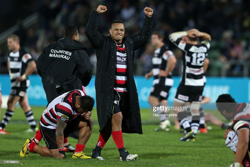 Hika Elliot of Counties Manukau celebrates after winning the round four ITM Cup Ranfurly Shield match between Hawke's Bay and Counties Manukau at...