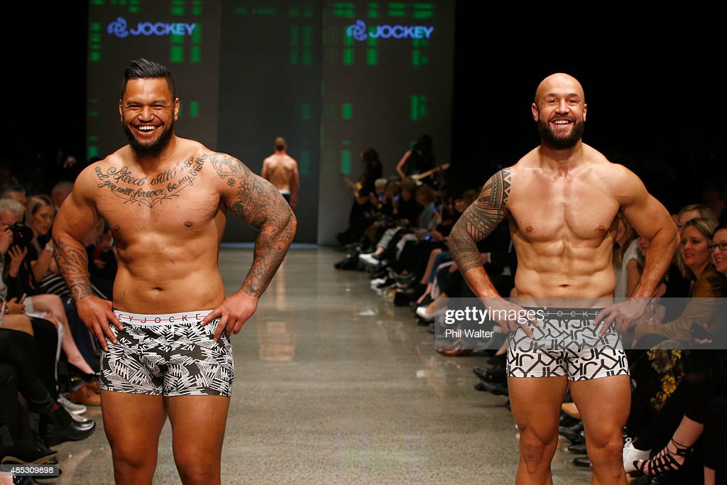 Hika Elliot of the All Blacks (L) and <a gi-track='captionPersonalityLinkClicked' href=/galleries/search?phrase=DJ+Forbes&family=editorial&specificpeople=4217962 ng-click='$event.stopPropagation()'>DJ Forbes</a> (R) of the All Black Sevens walk in the Jockey show at New Zealand Fashion Week 2015 on August 27, 2015 in Auckland, New Zealand.