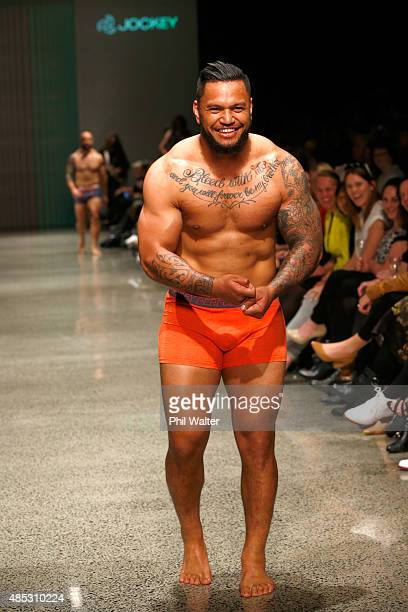 Hika Elliot of the All Blacks walks in the Jockey show at New Zealand Fashion Week 2015 on August 27 2015 in Auckland New Zealand