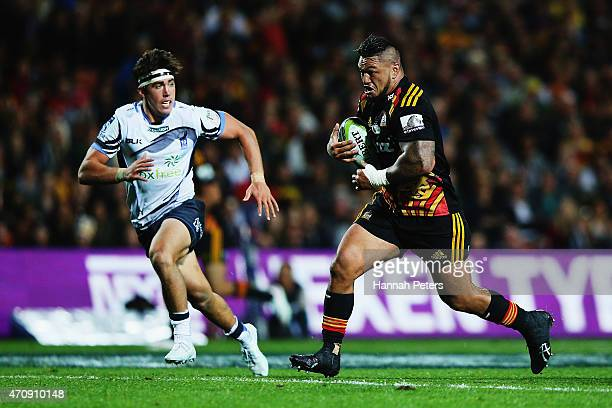Hika Elliot of the Chiefs makes a break during the round 11 Super Rugby match between the Chiefs and the Force at Waikato Stadium on April 24 2015 in...
