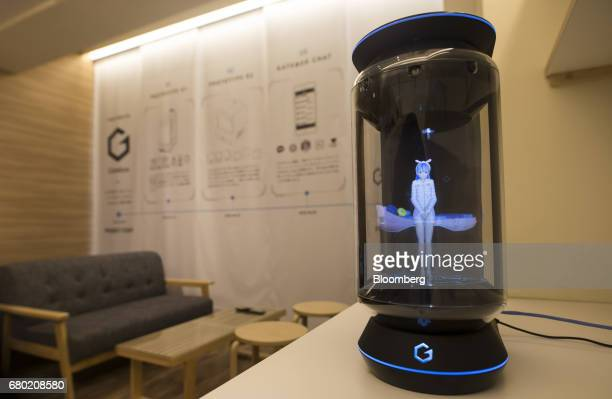 Hikari Azuma the first character for the Gatebox virtual home robot is displayed inside the home robot device at the Vinclu Inc office in Tokyo Japan...