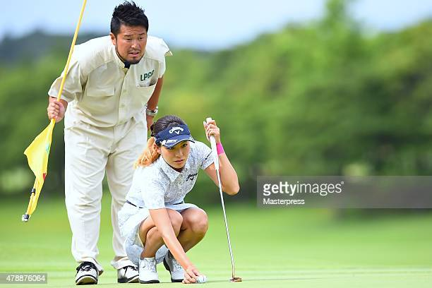 Hikari Fujita of Japan lines up during the final round of the Earth Mondamin Cup at the Camellia Hills Country Club on June 28 2015 in Sodegaura Japan