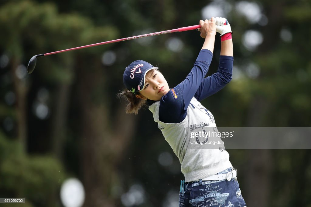 Hikari Fujita of Japan plays a tee shot on the 3rd hole during the first round of Fujisankei Ladies Classic at the Kawana Hotel Golf Course Fuji Course on April 21, 2017 in Ito, Japan.
