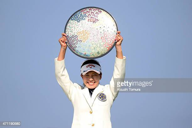Hikari Fujita of Japan poses with the trophy after winning the Fujisankei Ladies Classic at the Kawana Hotel Golf Course Fuji Course on April 26 2015...