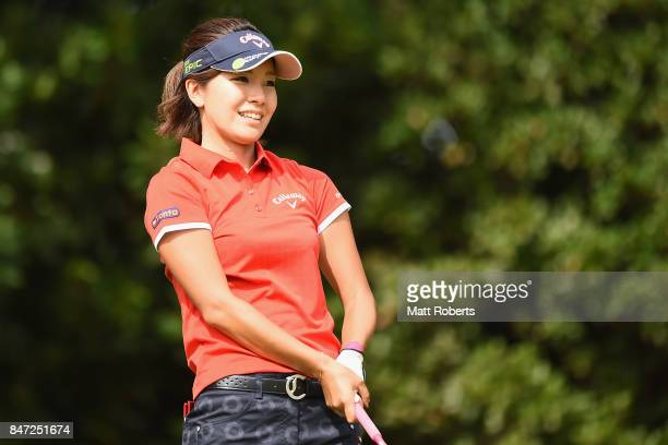 Hikari Fujita of Japan smiles after her tee shot on the 2nd hole during the first round of the Munsingwear Ladies Tokai Classic 2017 at the Shin...