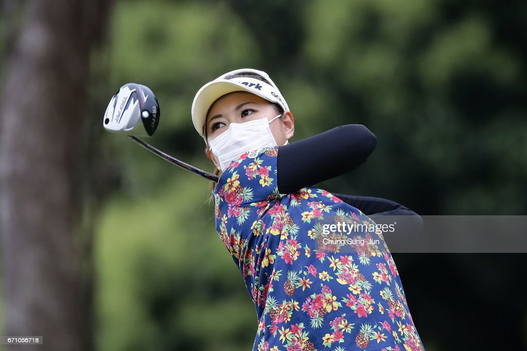 Hikari Kawamitsu of Japan plays a tee shot on the 3rd hole during the first round of Fujisankei Ladies Classic at the Kawana Hotel Golf Course Fuji Course on April 21, 2017 in Ito, Japan.