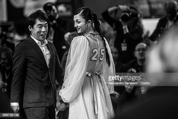 Hikari Mitsushima and Kei Ishikawa attend a premiere for 'The Bad Batch' during the 73rd Venice Film Festival at Sala Grande on September 6 2016 in...