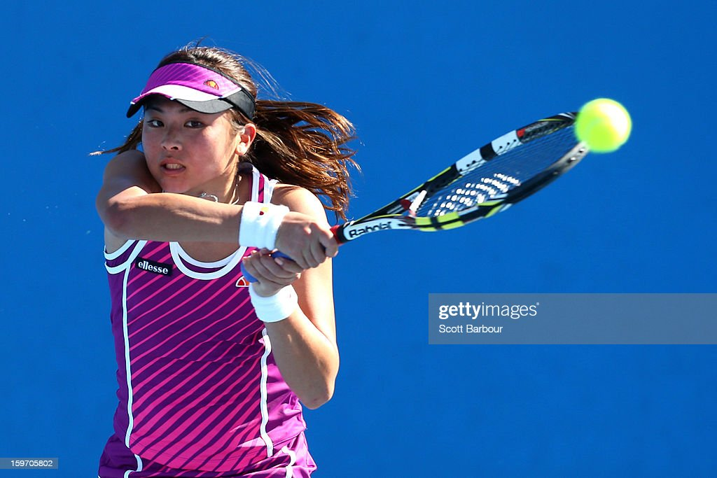 Hikari Yamamoto of Japan plays a backhand in her first round match against Anna Danilina of Kazakhstan during the 2013 Australian Open Junior Championships at Melbourne Park on January 19, 2013 in Melbourne, Australia.