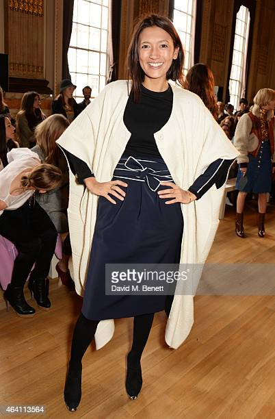Hikari Yokoyama attends the ISSA Autumn/Winter 2015 Runway Show during London Fashion Week at One Great George Street on February 22 2015 in London...