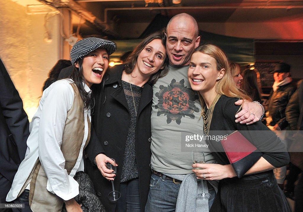Hikari Yokoyama, Rosemary Ferguson, Dino Chapman and Indra Roberts attend the launch of Dinos Chapman's album 'Luftbobler' at The Vinyl Factory Gallery on February 27, 2013 in London, England.