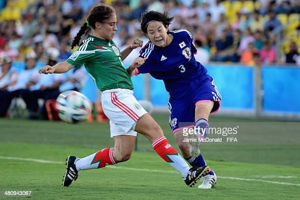 Hikaru Kitagawa battles with Eva Gonzalez of Mexico during the FIFA U17 Women's World Cup Quarter Final match between Japan and Mexico at Edgardo...