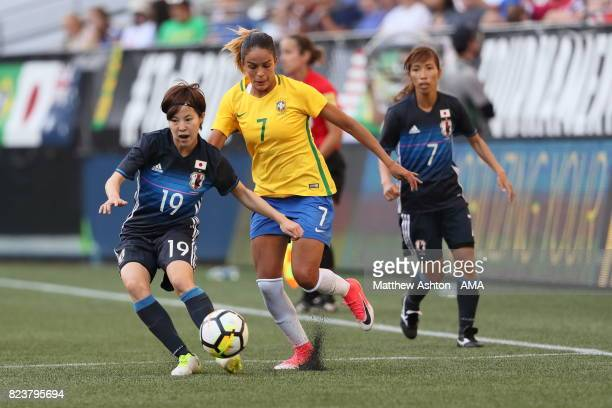 Hikaru Kitagawa of Japan and Gabi Nunes of Brazil during the 2017 Tournament Of Nations match between Japan and Brazil at CenturyLink Field on July...
