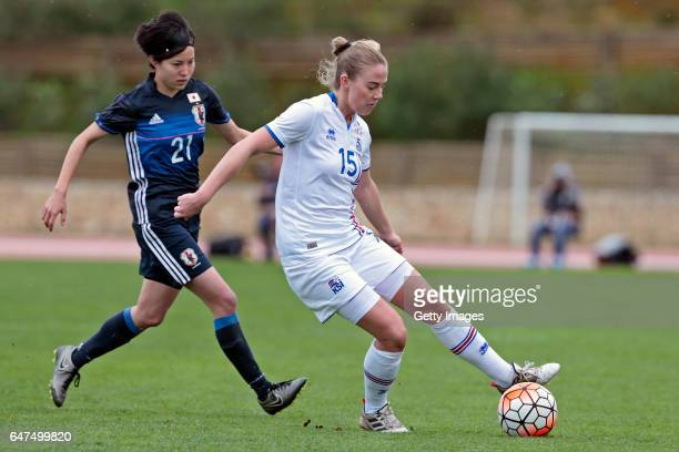 Hikaru Kitagawa of Japan Women challenges Elin Metta Jensen of Iceland Women during the match between Japan v Iceland Women's Algarve Cup on March 3...