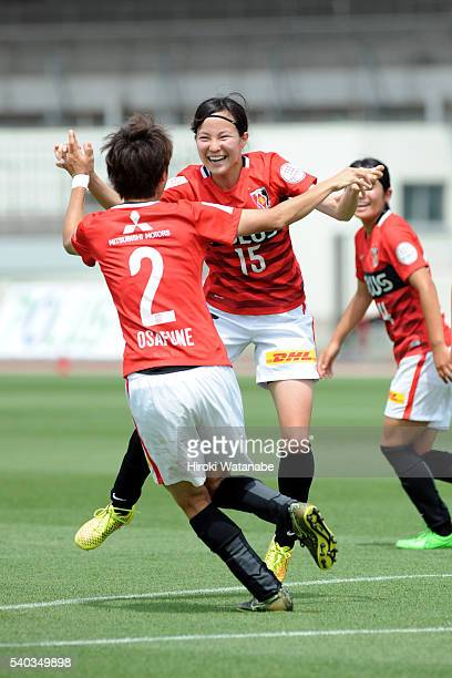Hikaru Kitagawa of Urawa Reds celebrates scoring her team's second goal during the Nadeshiko Cup Group B match between Urawa Red Diamonds Ladies v...